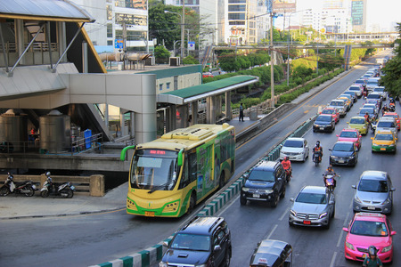 criticized: Bangkok Thailand  April 28 2015: The Bangkok BRT is a bus rapid transit system in Bangkok. As it runs on dedicated bus lane in the center of the road it blocks the traffic and is criticized that it has worsened the traffic in the area.