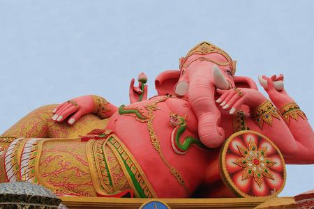 mnemonic: Hugh Pink Genesha the elephantdeity riding a mouse one of the commonest mnemonics for anything associated with Hinduism located at Wat Samanrattanaram Temple Chachengsao Thailand