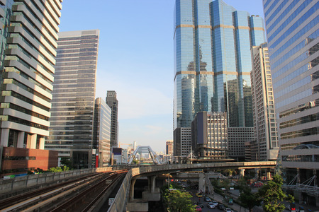 upmarket: Sathon District is one of Bangkoks main business areas and boasts many upmarket serviced apartments and variety of fine restaurants. Stock Photo