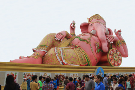 mnemonic: Chachoengsao, Thailand - May 4, 2015: Hugh Pink Genesha, the elephant-deity riding a mouse, one of the commonest mnemonics for anything associated with Hinduism, located at Wat Samanrattanaram Temple, Chachoengsao, Thailand