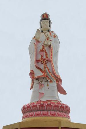 goddess of mercy: Chachoengsao, Thailand - May 4, 2015: Statue of the Goddess Guanyin, an East Asian deity of mercy, at Samanrattanaram Temple, Bangkok, Thailand Stock Photo