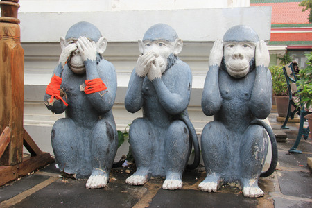 analogy: The Three Wise Monkeys or Three Mystic Apes are a pictorial maxim and the proverbial principle to see no evil, hear no evil, speak no evil.