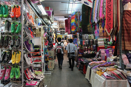 Bangkok, Thailand - May 9, 2015: Chatuchak Weekend Market, with more than 8000 stalls and 9 kinds of goods, is the largest market in Thailand. Editorial