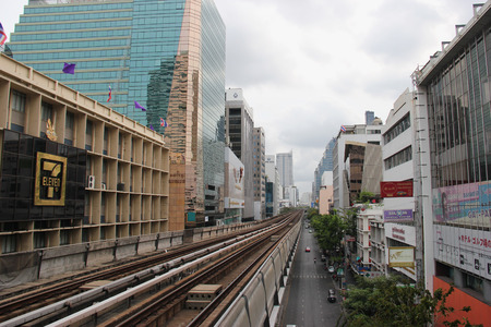 silom: Bangkok, Thailand - May 9, 2015: The Bangkok Mass Transit System , known as BTS or Skytrain, is an elevated rapid transit system in Bangkok. The system consists of 34 stations along two lines.