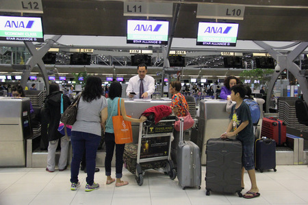 airport check in counter: Bangkok, Thailand - May 12, 2015: ANA Check In Counter at Suvarnabhumi Airport, the tenth busiest airport in the world, sixth busiest airport in Asia and the busiest in the country. Editorial