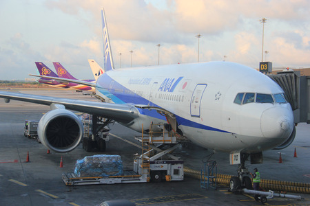 Bangkok, Thailand - May 12, 2015: ANA or All Nippon Airways is a Japanese airline operating services to 49 destinations in Japan and 32 international routes. Stock Photo - 42181508