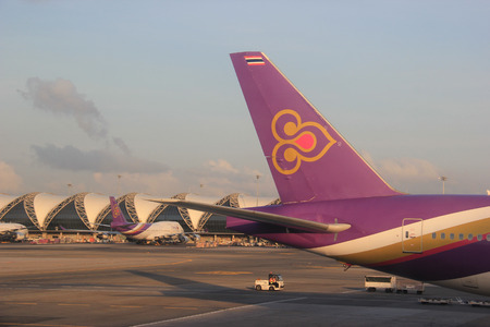 Bangkok, Thailand - May 12, 2015: Thai Airways International is the flag carrier airline of Thailand and flies to 78 destinations in 35 countries.