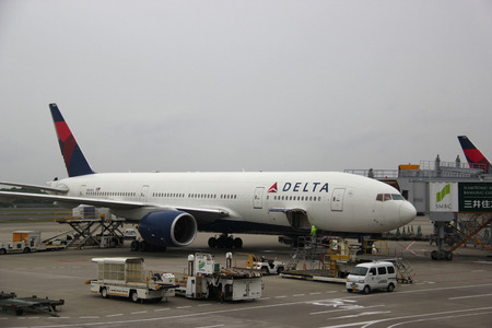 Tokyo, Japan - May 12, 2015: Delta Air Lines is a major American airline with its headquarters and largest hub in Atlanta, Georgia. It serves an extensive domestic and international network in 64 countries.