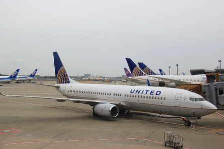 Tokyo, Japan - May 12, 2015: United Airlines, an American major airline, is the worlds largest airline when measured by number of destinations served. Editöryel