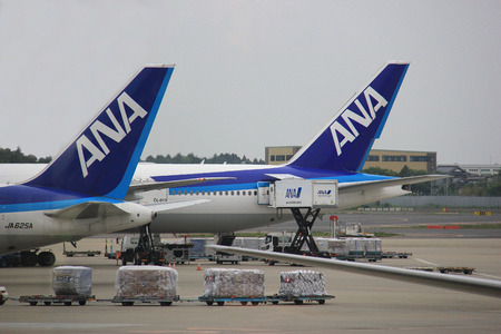 Tokyo, Japan - May 12, 2015: ANA or All Nippon Airways is a Japanese airline operating services to 49 destinations in Japan and 32 international routes.