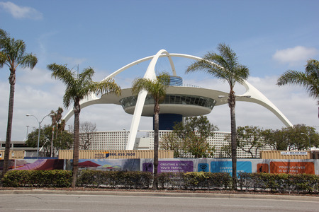 Los Angeles, California, USA - May 13, 2015: The Theme Building at Los Angeles International Airport was designated as a historic-cultural monument by the Los Angeles City Council in 1993.