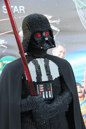 star: Carlsbad, California, USA - December 27, 2014: Dark Vader LEGO for Death Star Model at Legoland California, the third Legoland Park to open and the first Legoland outside Europe.