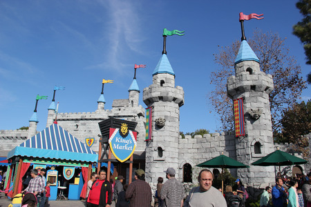 dressup: Carlsbad, California, USA - December 27, 2014: Kings Market at Legoland California is an open-air marketplace selling a variety of whimsical role-play and dreamy dress-up costumes. Editorial