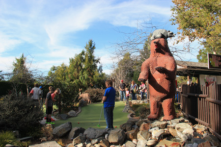 golf of california: Carlsbad, California, USA - December 27, 2014: Wild Woods Golf at Legoland California is a miniature golf course at Castle Hill Area of Legoland, California.