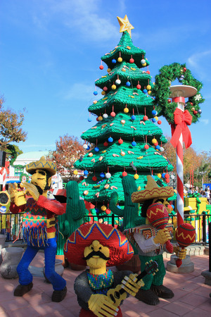 theme park: Carlsbad, California, USA - December 27, 2014: Christmas Decoration at Legoland California, the third Legoland Park to open and the first Legoland outside Europe. Editorial