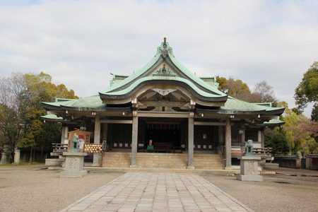 general cultural heritage: Main Building at Hokoku Shrine in Osaka, Japan
