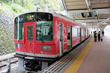lower section: Hakone, Japan - April 9, 2015: Odakyu Train serves from Odawara to Hakone-Yumoto, which is the lower section of Hakone Tozan Train -  Japans oldest mountain railway. Editorial