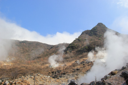 vents: Owakudani is a volcanic valley with active sulphur vents and hot springs.