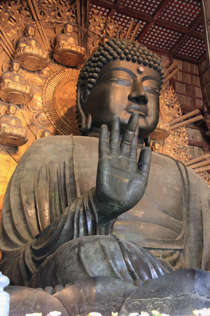 japan: Located at Daibutsuden, the worlds largest wooden building at Todaiji, Nara, Japan, Daibutsu is one of Japans largest bronze statues of Buddha.