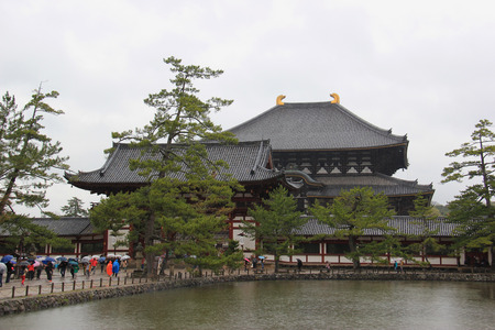 todaiji: Nara, Japan - April 10, 2015: Todai-ji, a Buddhist temple complex in Nara, Japan, is a listed UNESCO World Heritage Site as one of the Historic Monuments of Ancient Nara.