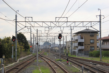 saga: Kyoto, Japan - April 11, 2015: Saga Arashiyama Station is a railway station on the West Japan Company Sanin Main Line in Kyoto, Japan. Editorial