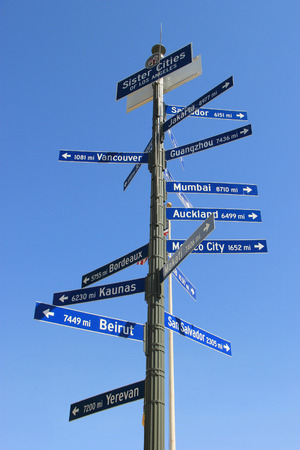 Sister Cities of Los Angeles Signpost in Downtown Los Angeles
