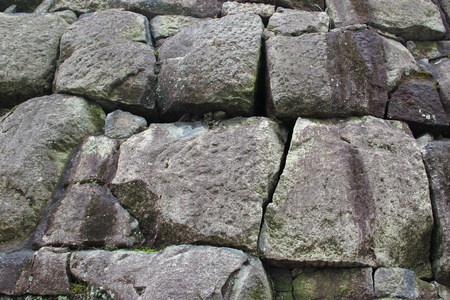 designated: Strong Stone Wall at Nijo Castle, one of the seventeen Historic Monuments of Ancient Kyoto designated by UNESCO as a World Heritage Site.