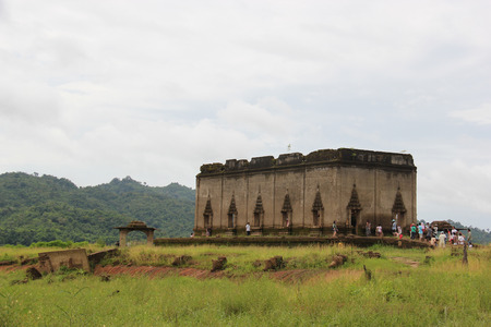 vestige: Kanchanaburi, Thailand - July 22, 2013: Wat Saam Prasob or The Sunken Temple is the last remaining vestige of the old town flooded for the creation of Khao Laem Reservoir, in Sangkhlaburi, Kanchanaburi, Thailand.