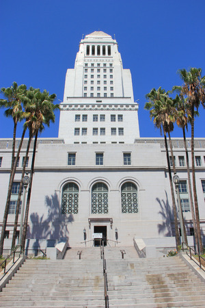 municipality: Los Angeles, California, USA - August 14, 2015: Los Angeles City Hall is the center of the government of the city of Los Angeles, houses the mayors office and the meeting chambers and offices of the Los Angeles City Council. Editorial