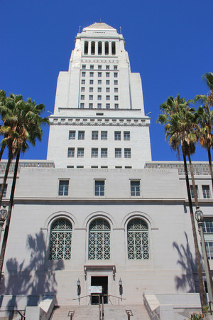 civic: Los Angeles, California, USA - August 14, 2015: Los Angeles City Hall is the center of the government of the city of Los Angeles, houses the mayors office and the meeting chambers and offices of the Los Angeles City Council. Editorial
