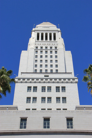 chambers: Los Angeles, California, USA - August 14, 2015: Los Angeles City Hall is the center of the government of the city of Los Angeles, houses the mayors office and the meeting chambers and offices of the Los Angeles City Council. Editorial