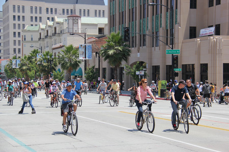 road bike: Pasadena, California, USA - May 31, 2015: CicLAvia is an event held in Los Angeles where streets are closed to motor vehicles and open for the public to walk, bike and skate through open streets.