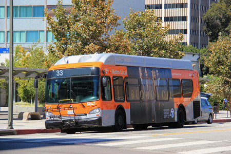 Los Angeles, California, USA - August 16, 2015: Metro Bus is operated by the Los Angeles County Metropolitan Transportation Authority, the second largest bus fleet opeator in North America in 2009.