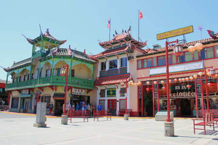 yat sen: Los Angeles, California, USA - August 14, 2015: New Chinatown, blend of Chinese and American architecture, is a tourists attraction in downtown Los Angeles. Editorial