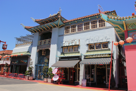 yat: Los Angeles, California, USA - August 14, 2015: New Chinatown, blend of Chinese and American architecture, is a tourists attraction in downtown Los Angeles. Editorial