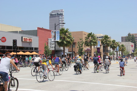 cycler: Pasadena, California, USA - May 31, 2015: CicLAvia is an event held in Los Angeles where streets are closed to motor vehicles and open for the public to walk, bike and skate through open streets.