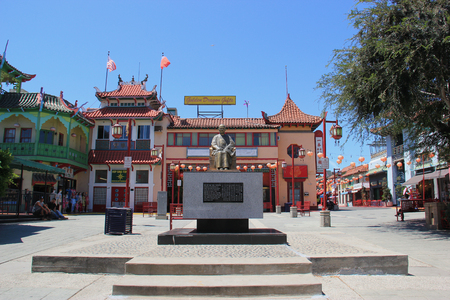 Los Angeles, California, USA - August 14, 2015: Statue of Dr. Sun Yat-Sen, one of the greatest figures in Chinas long history, at New Chinatown, blend of Chinese and American architecture - a tourists attraction in downtown Los Angeles.