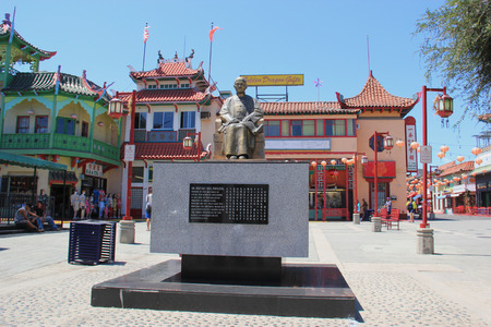 yat: Los Angeles, California, USA - August 14, 2015: Statue of Dr. Sun Yat-Sen, one of the greatest figures in Chinas long history, at New Chinatown, blend of Chinese and American architecture - a tourists attraction in downtown Los Angeles.