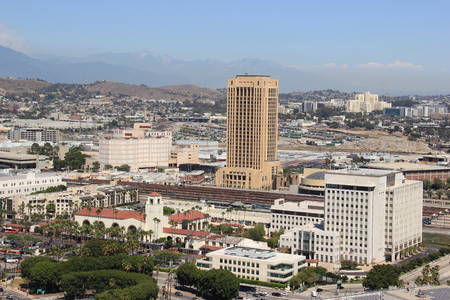 historical landmark: Los Angeles, California, USA - August 14, 2015: Scenery of Union Station, the largest railroad passenger terminal in the Western United States, and Los Angeles County Metropolitan Transportation Authority, the public transportation operating agency for th