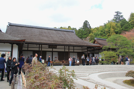 rokuonji: Kyoto, Japan - April 11, 2015: Dry Sand Garden called Sea of Silver Sand at Ginkaku-ji or Temple of the Silver Pavilion, a Zen temple in Kyoto, Japan.