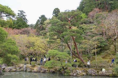 rokuonji: Kyoto, Japan - April 11, 2015: Japanese Style Garden at Ginkaku-ji or Temple of the Silver Pavilion, a Zen temple in Kyoto, Japan.