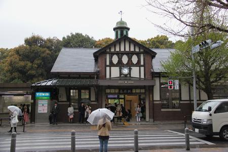 harajuku: Tokyo, Japan - April 12, 2015: Harajuku Station is a railway station in Shibuya, Tokyo, Japan, operated by East Japan Railway Company.