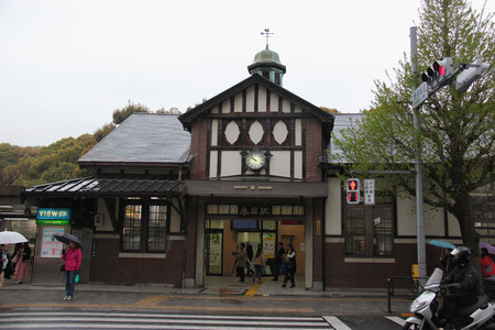 Harajuku: Tokyo, Japan - April 12, 2015: Harajuku Station is a railway station in Shibuya, Tokyo, Japan, operated by East Japan Railway Company.