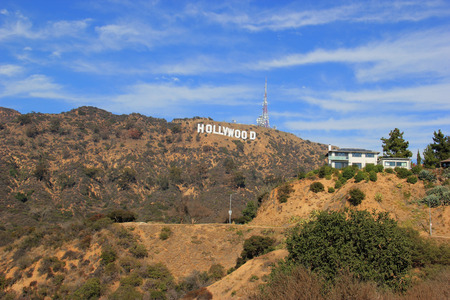 hollywood   california: Los Angeles, California, USA - November 10, 2014: The Hollywood Sign is a landmark and American cultural icon located on Mount Lee in the Hollywood Hills area of the Santa Monica Mountains in Los Angeles, California. Editorial