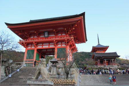 respectful: Kyoto, Japan - April 11, 2015: Kiyomizudera, one of the most celebrated temples of Japan, was added to the list of UNESCO World Heritage Sites in 1994.