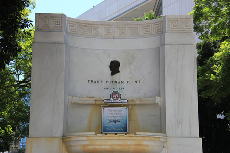 flint: Los Angeles, California, USA - August 14, 2015: Frank Putnam Flint Memorial Fountain, located on the south lawn of Los Angeles City Hall, is a civic landmark honoring former U.S. Senator Frank Putnam Flint.