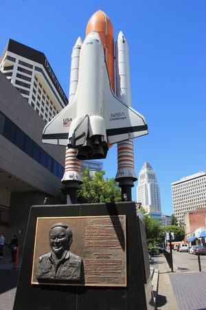 colonel: Los Angeles, California, USA - August 16, 2015: Statue of NASA Rocket and Colonel Onizuka, the first Japanese American astronaut selected to participate in Americans Space Program, is located at Little Tokyo Historic District in downtown Los Angeles, Cal Editorial