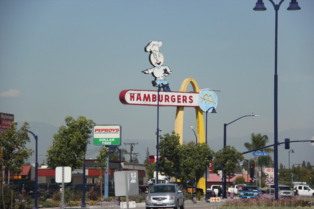 deemed: Downey, California, USA - March 24, 2015: The oldest operating McDonalds restaurant was the third McDonalds restaurant and is now the oldest in the chain still in existence. It was deemed eligible for addition to the National Register of Historic Places