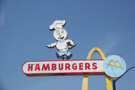 eligible: Downey, California, USA - March 24, 2015: The oldest operating McDonalds restaurant was the third McDonalds restaurant and is now the oldest in the chain still in existence. It was deemed eligible for addition to the National Register of Historic Places