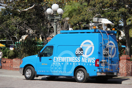 eyewitness: Los Angeles, California, USA - August 14, 2015: Broadcasting vehicle of American Broadcasting Company ABC is preparing to report a news.